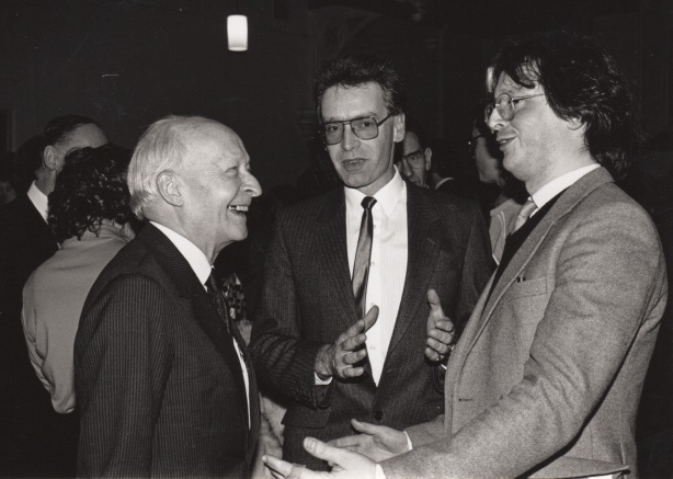 WL at QUB, with Adrian Thomas and Piers Hellawell 17.12.87