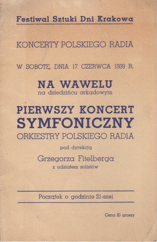 Krakøw concerts 17-20.06.39 cover