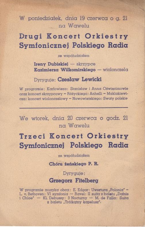 Krakow cncerts 19-20.06.39