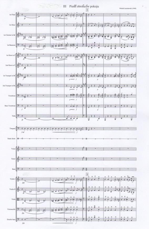 Pieśńobrońców pokoju, full score, opening