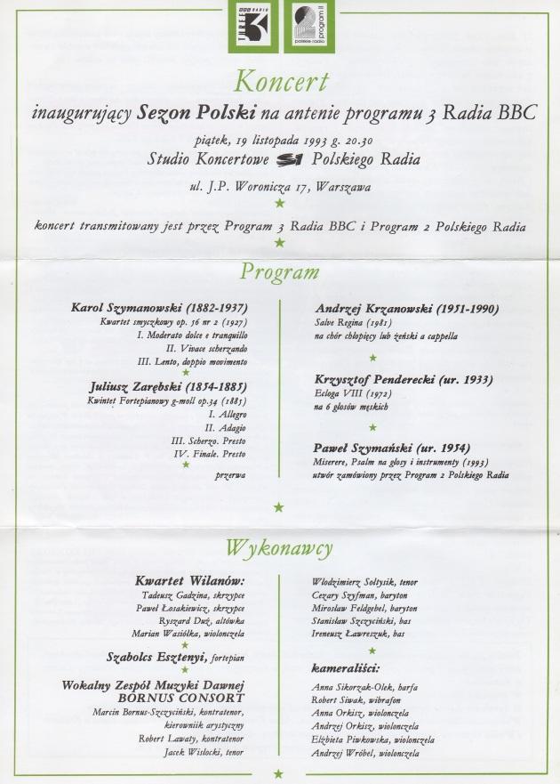 Polska! Programme 19.11.93
